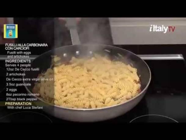 """PastaMania #6. """"Fusilli alla Carbonara con Carciofi"""" (Fusilli with eggs, guanciale and artichokes)"""