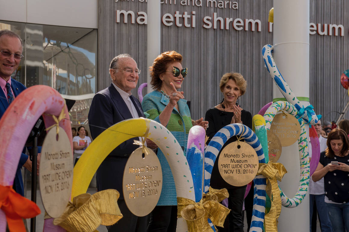 """80c861d3028 The Museum of Contemporary Art conceived as a Renaissance """"bottega  dell arte"""" at UC Davis The Manetti Shrem couple at the ribbon-cutting  ceremony"""
