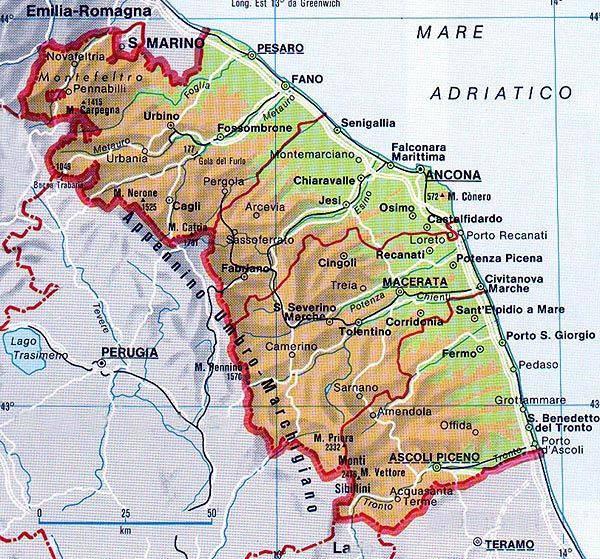 Amendola Italy Map.Le Marche An Infinite Discovery